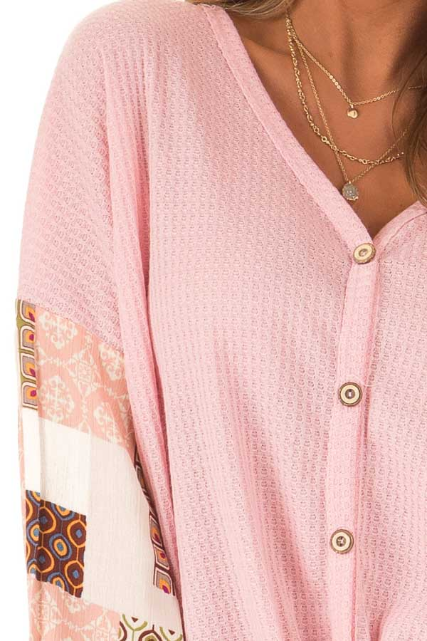Bubblegum Waffle Knit Top with Long Printed Puff Sleeves detail