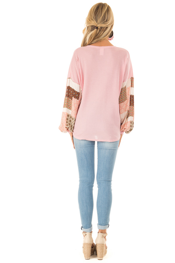 Bubblegum Waffle Knit Top with Long Printed Puff Sleeves back full body