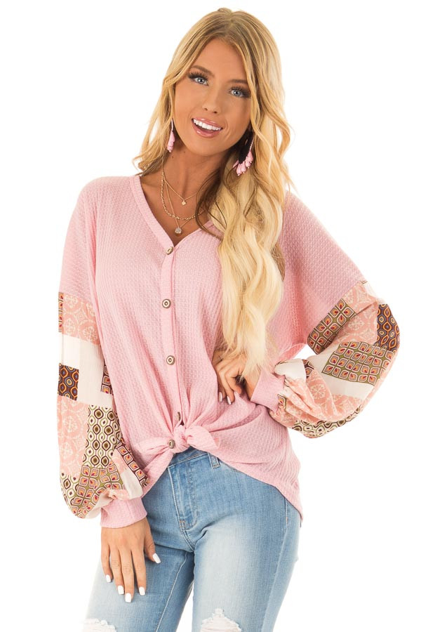 Bubblegum Waffle Knit Top with Long Printed Puff Sleeves front close up