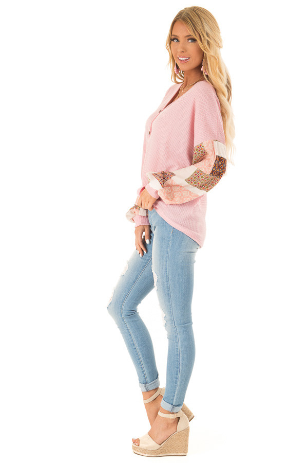 Bubblegum Waffle Knit Top with Long Printed Puff Sleeves side full body