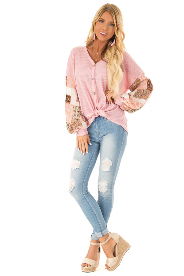 Bubblegum Waffle Knit Top with Long Printed Puff Sleeves front full body