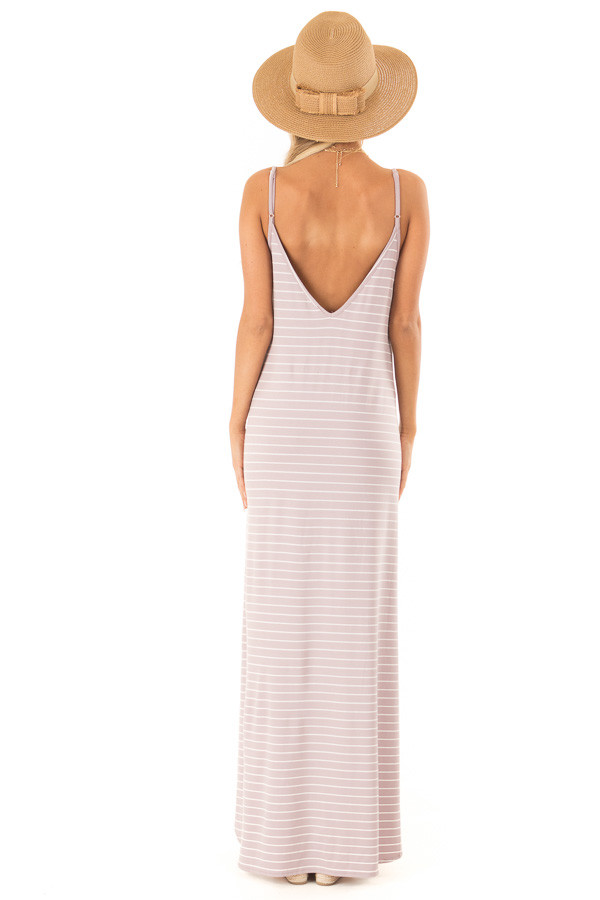 Dusty Lilac and Ivory Striped Maxi Dress with Side Slits back full body
