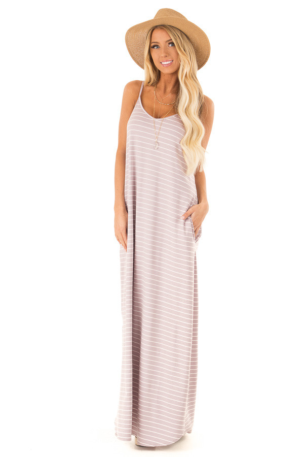 Dusty Lilac and Ivory Striped Maxi Dress with Side Slits front full body