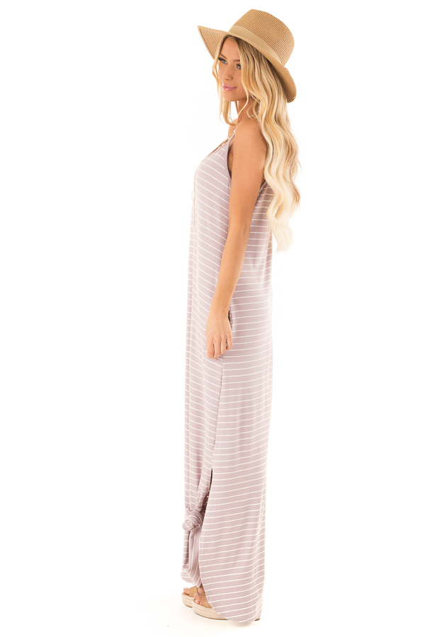 Dusty Lilac and Ivory Striped Maxi Dress with Side Slits side full body