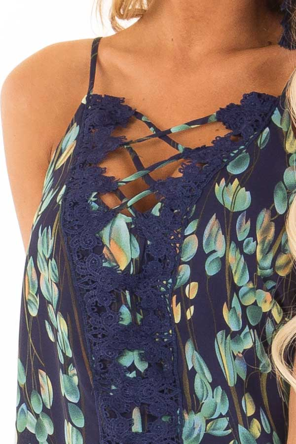 Navy Sleeveless Criss Cross Floral Blouse with Lace Detail detail