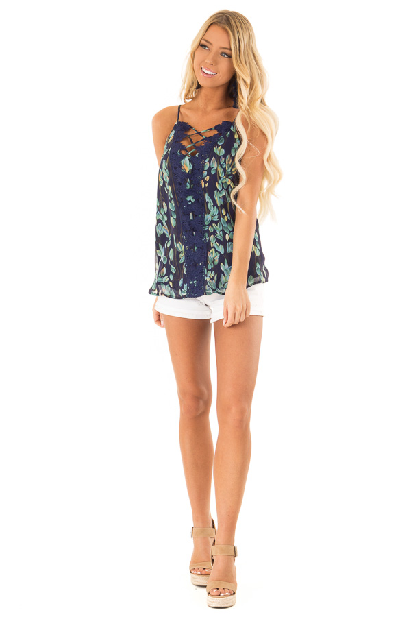 Navy Sleeveless Criss Cross Floral Blouse with Lace Detail front full body