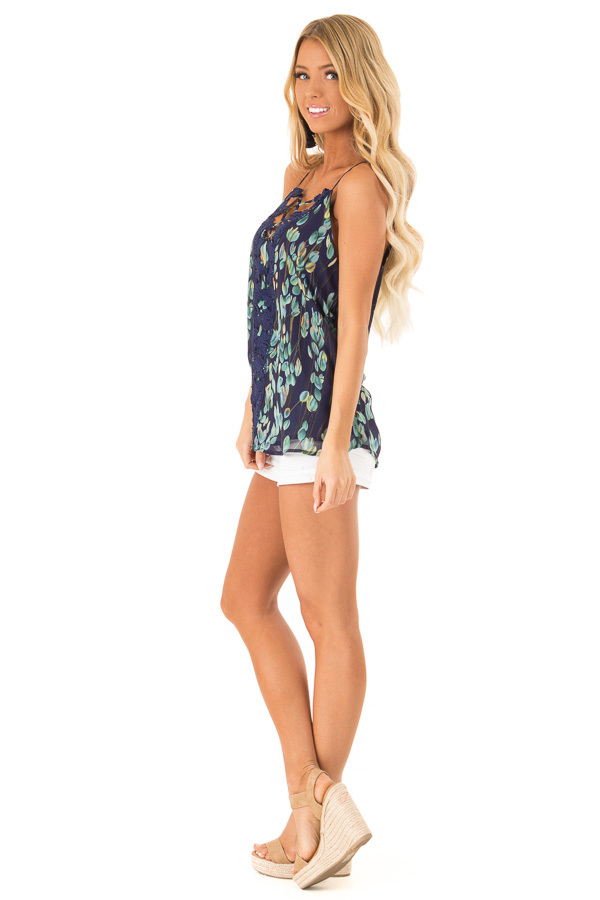 Navy Sleeveless Criss Cross Floral Blouse with Lace Detail side full body