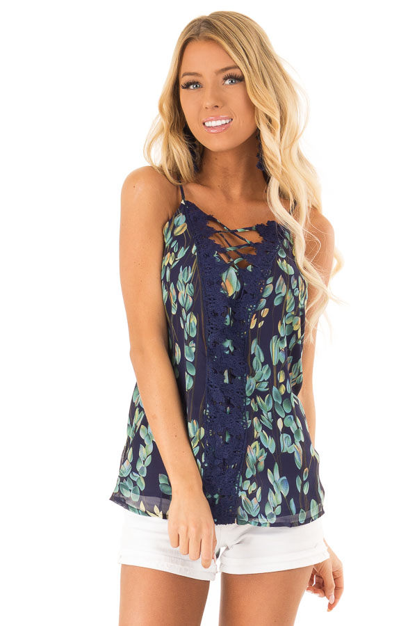 Navy Sleeveless Criss Cross Floral Blouse with Lace Detail front close up