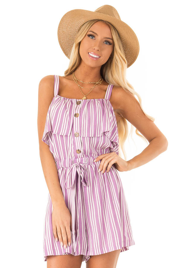 Orchid Striped Sleeveless Romper with Button Detail front close up