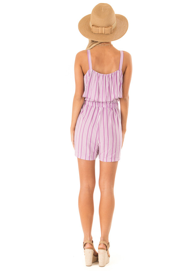 Orchid Striped Sleeveless Romper with Button Detail back full body