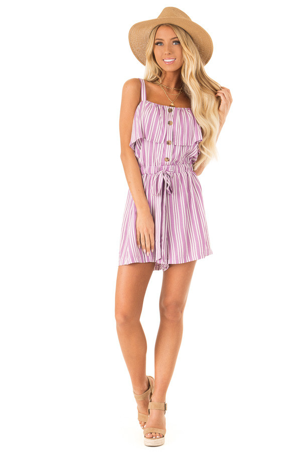 Orchid Striped Sleeveless Romper with Button Detail front full body