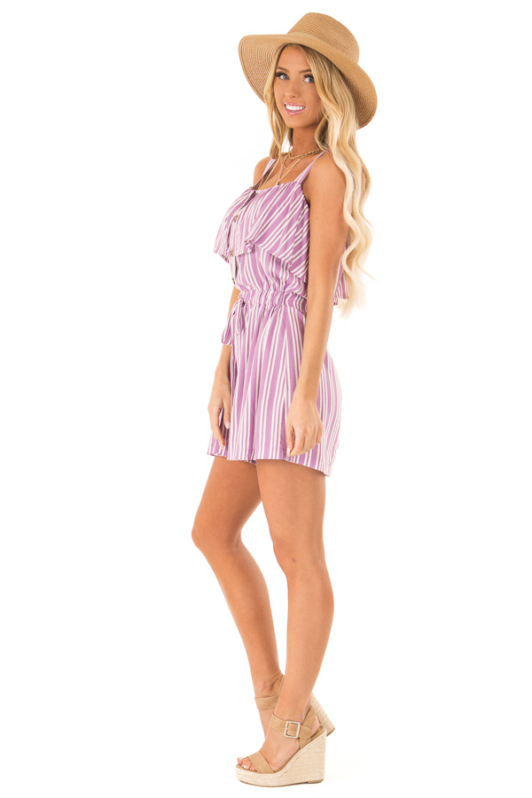 Orchid Striped Sleeveless Romper with Button Detail side full body