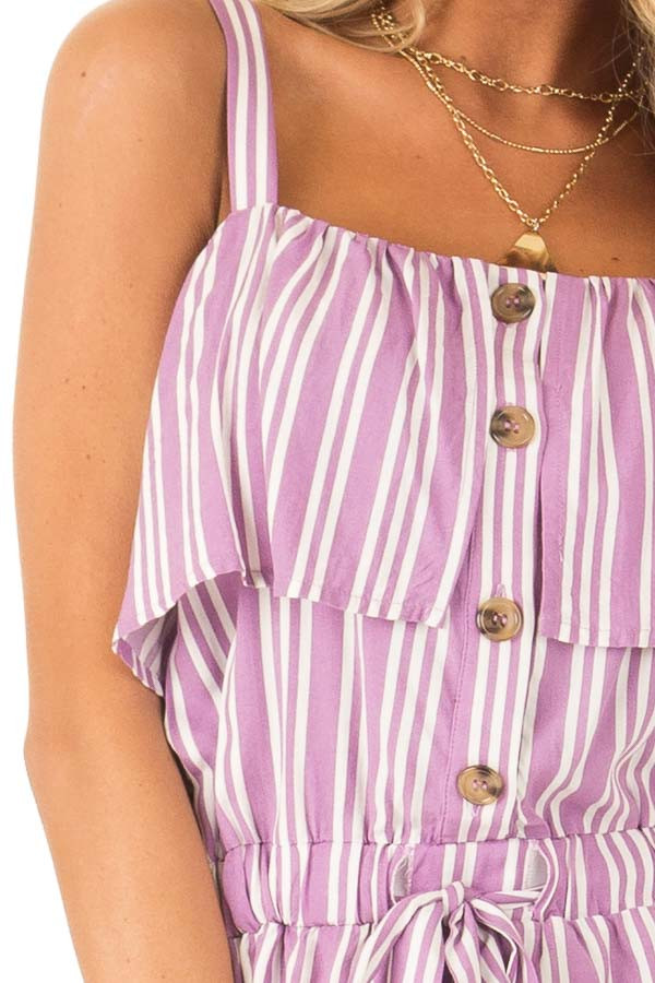 Orchid Striped Sleeveless Romper with Button Detail detail