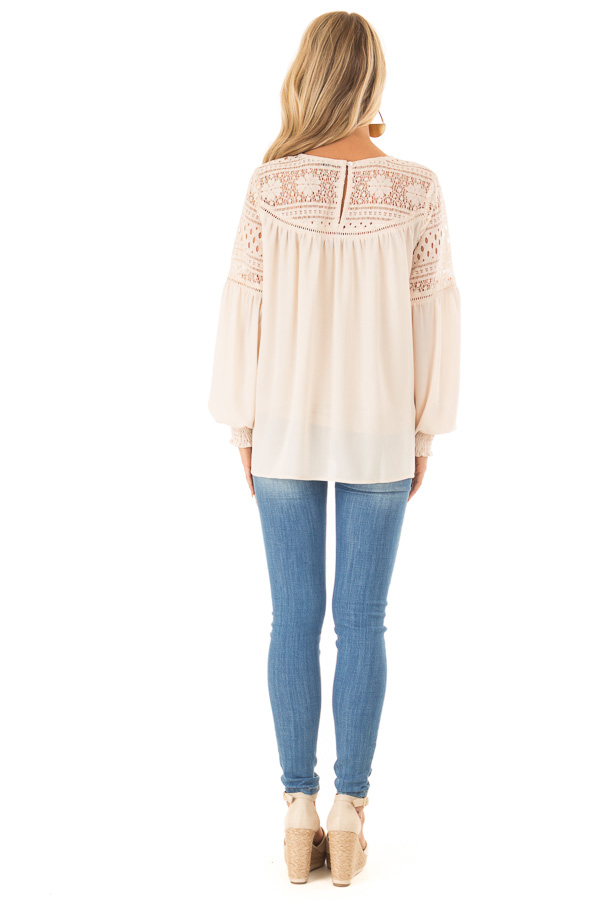 Beige Peasant Top with Lace Yoke and Long Bishop Sleeves back full body