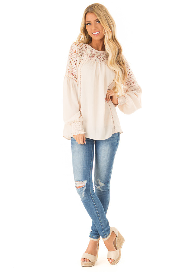 Beige Peasant Top with Lace Yoke and Long Bishop Sleeves front full body