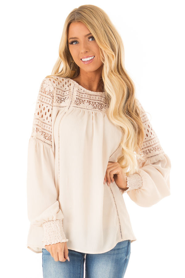 Beige Peasant Top with Lace Yoke and Long Bishop Sleeves front close up