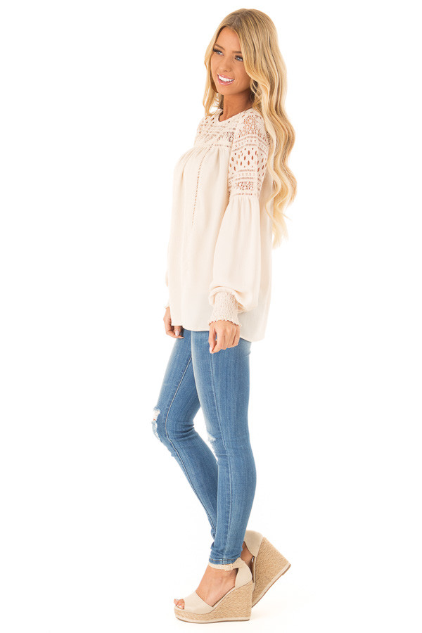 Beige Peasant Top with Lace Yoke and Long Bishop Sleeves side full body