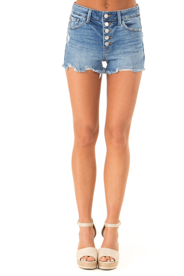 Medium Wash Button Up Distressed High Rise Shorts front view