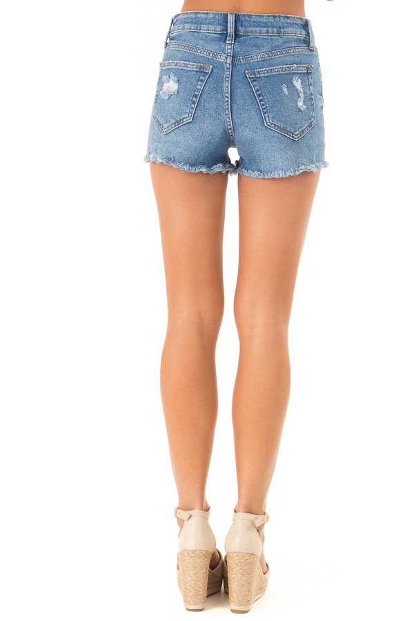 Medium Wash Button Up Distressed High Rise Shorts back view