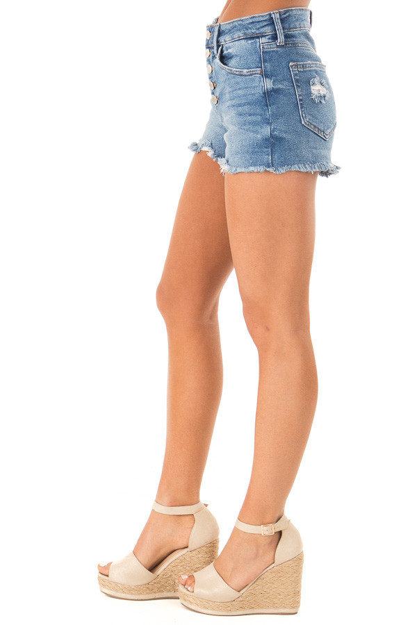 Medium Wash Button Up Distressed High Rise Shorts side view
