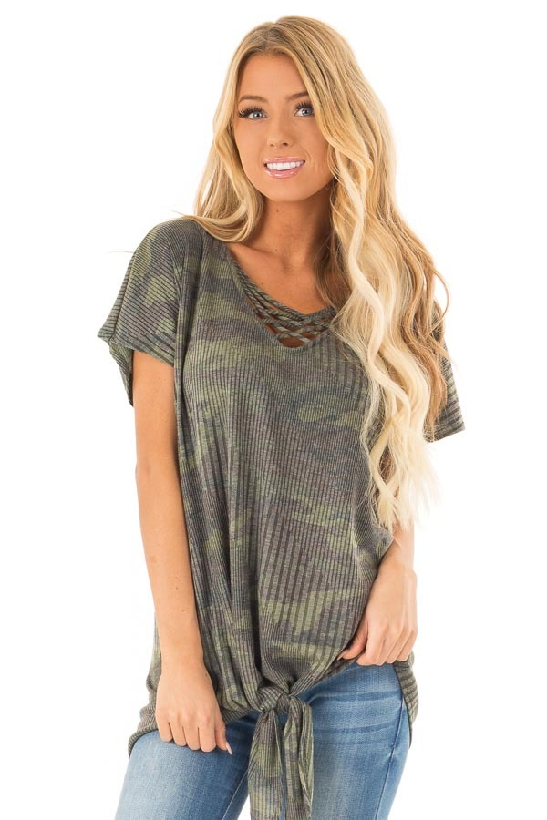 Army Green Camo Top with Front Tie and Criss Cross Neck front close up