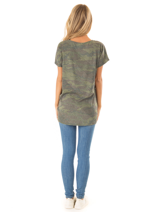 Army Green Camo Top with Front Tie and Criss Cross Neck back full body