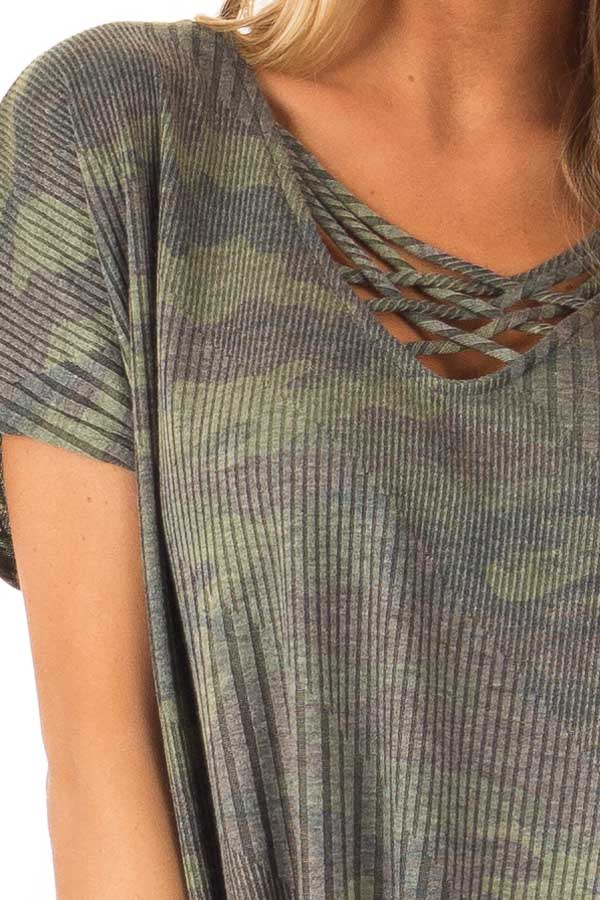 Army Green Camo Top with Front Tie and Criss Cross Neck detail