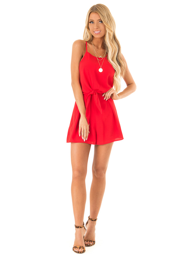 Ruby Red Sleeveless High Neck Romper with Front Knot Detail front full body