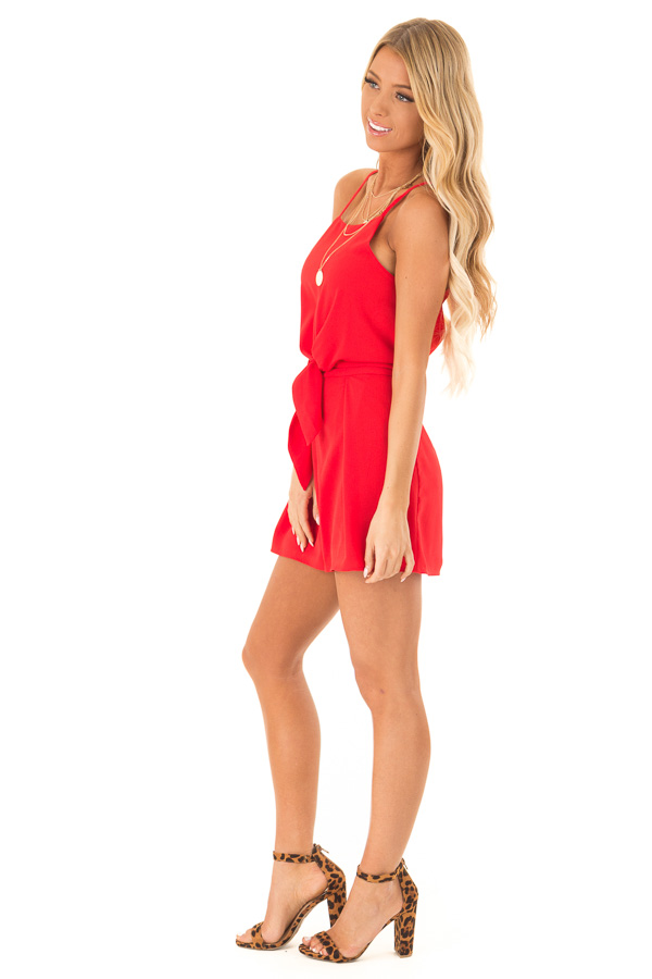 Ruby Red Sleeveless High Neck Romper with Front Knot Detail side full body