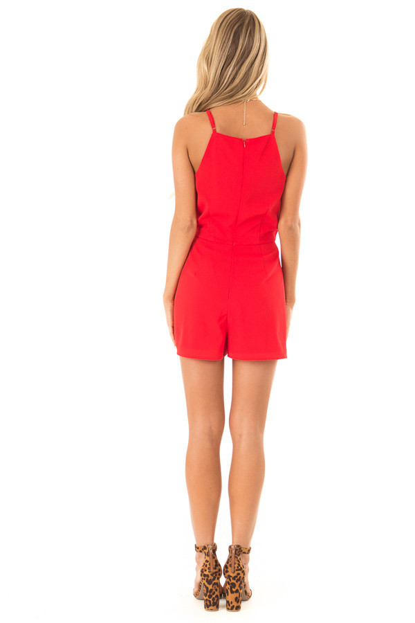 Ruby Red Sleeveless High Neck Romper with Front Knot Detail back full body