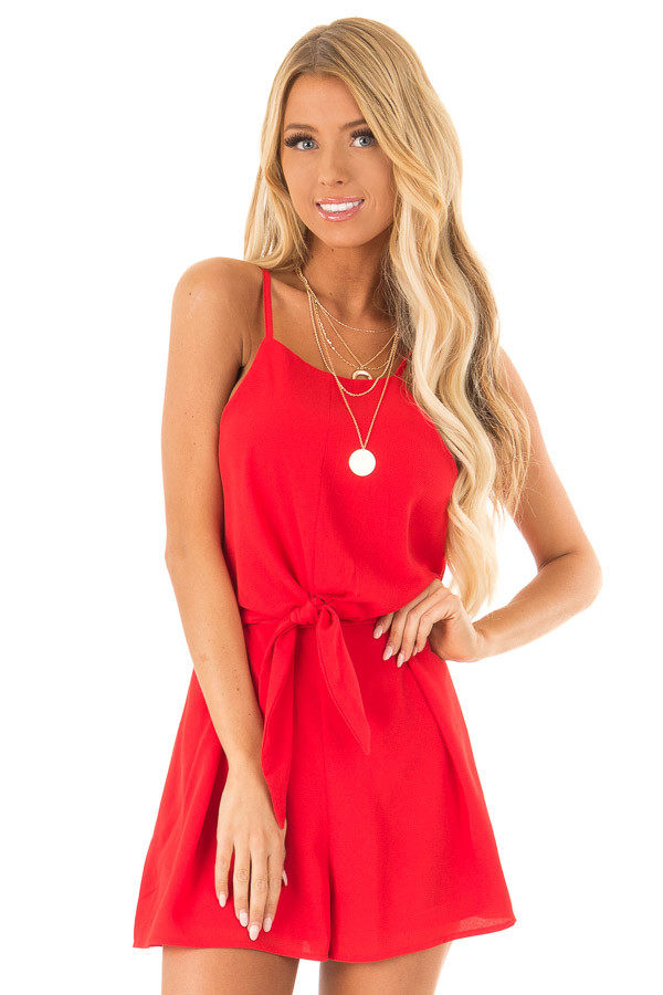 Ruby Red Sleeveless High Neck Romper with Front Knot Detail front close up