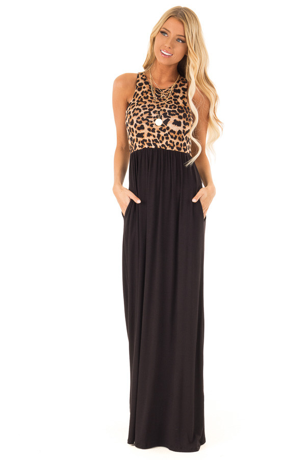 Onyx Black Maxi Dress with Leopard Contrast and Side Pockets front full body