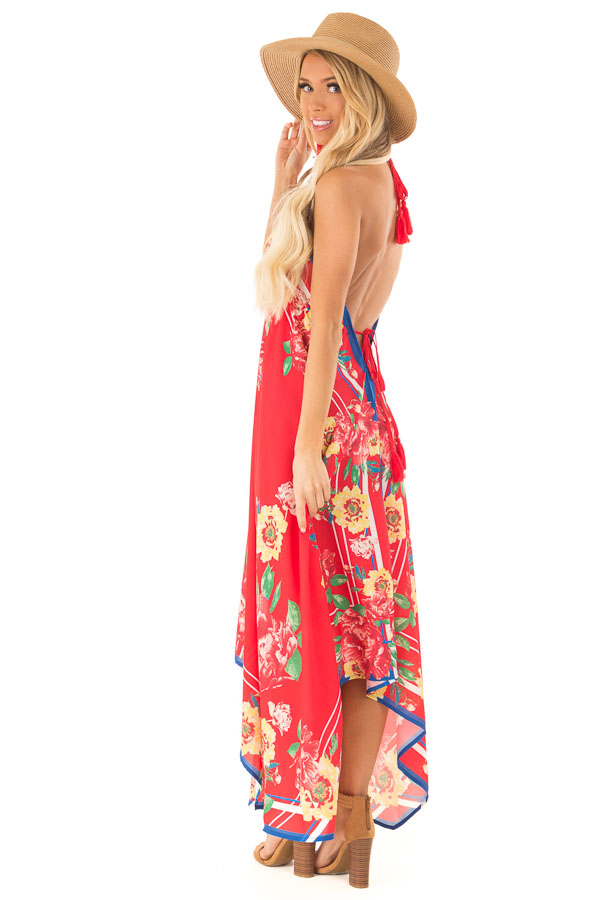 Candy Apple Red Floral Halter Top Handkerchief Dress side full body