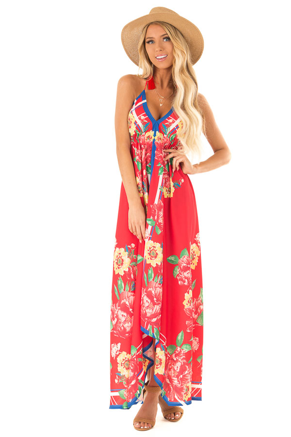 Candy Apple Red Floral Halter Top Handkerchief Dress front full body