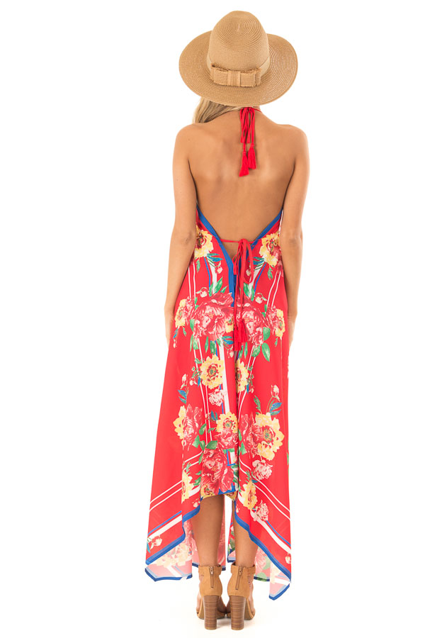 Candy Apple Red Floral Halter Top Handkerchief Dress back full body