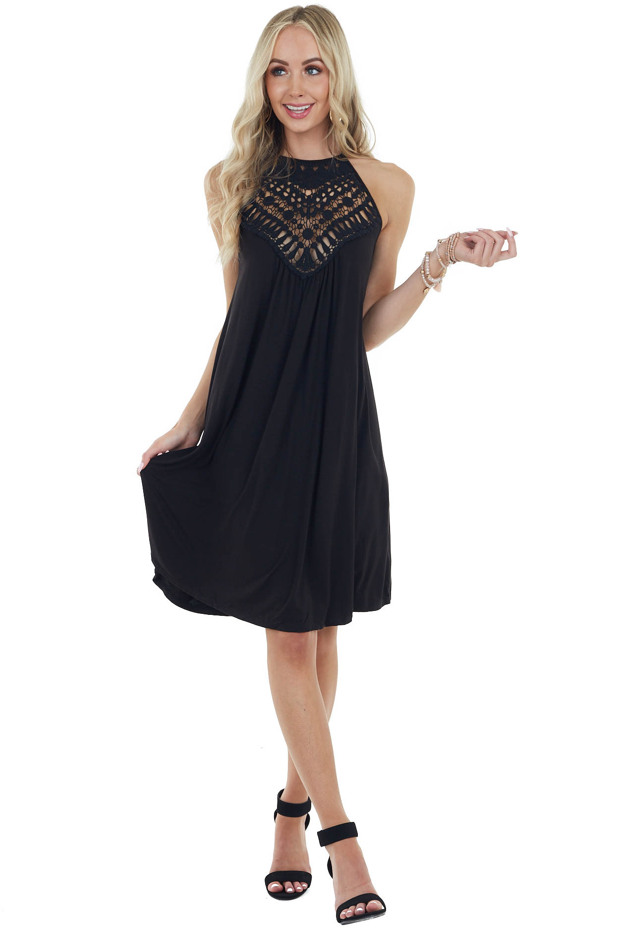Onyx Black Short Dress with Lace Front and Keyhole Back