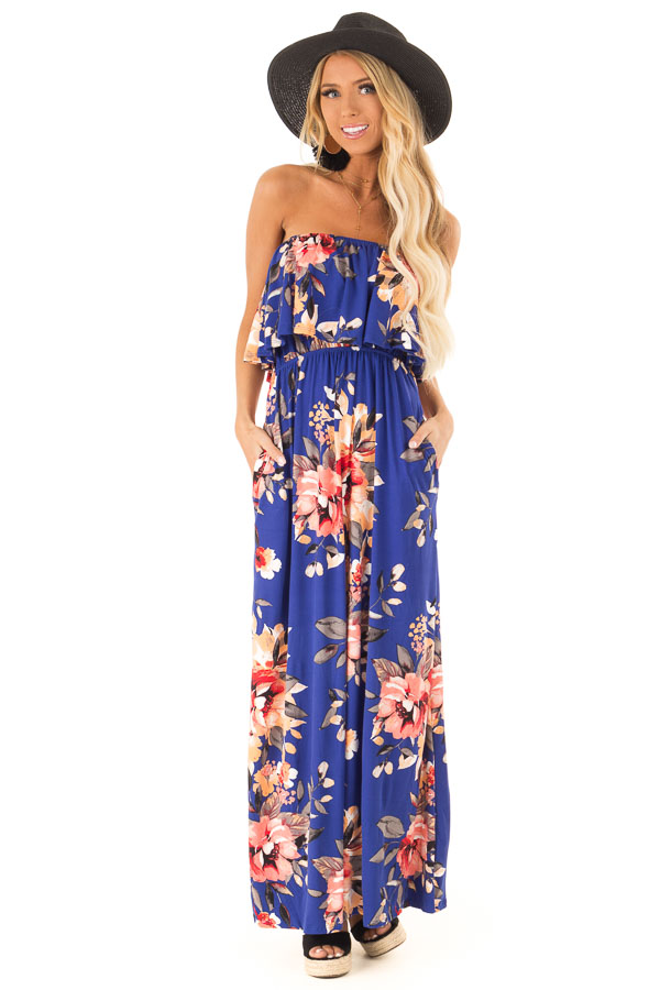 63e0d672d99 Cobalt Blue Floral Print Strapless Maxi Dress with Pockets front full body