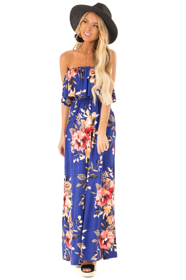 9ad035fe584 ... Cobalt Blue Floral Print Strapless Maxi Dress with Pockets front full  body ...