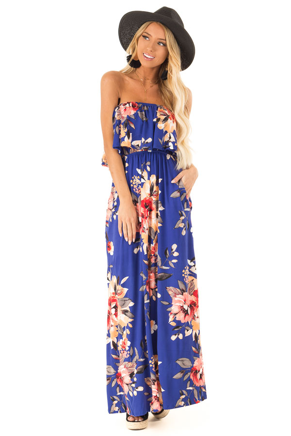 Cobalt Blue Floral Print Strapless Maxi Dress with Pockets front full body