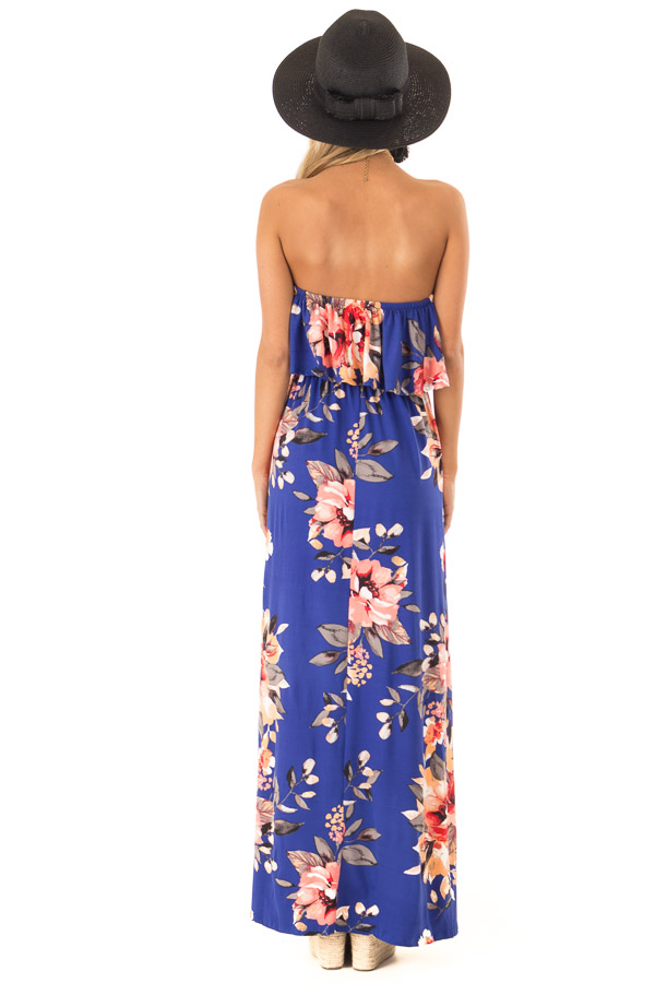 Cobalt Blue Floral Print Strapless Maxi Dress with Pockets back full body