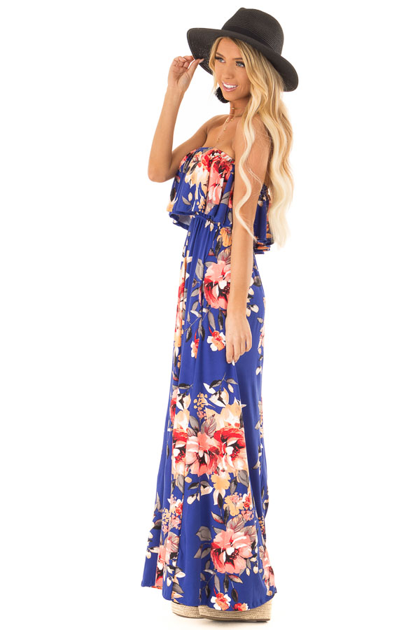 Cobalt Blue Floral Print Strapless Maxi Dress with Pockets side full body