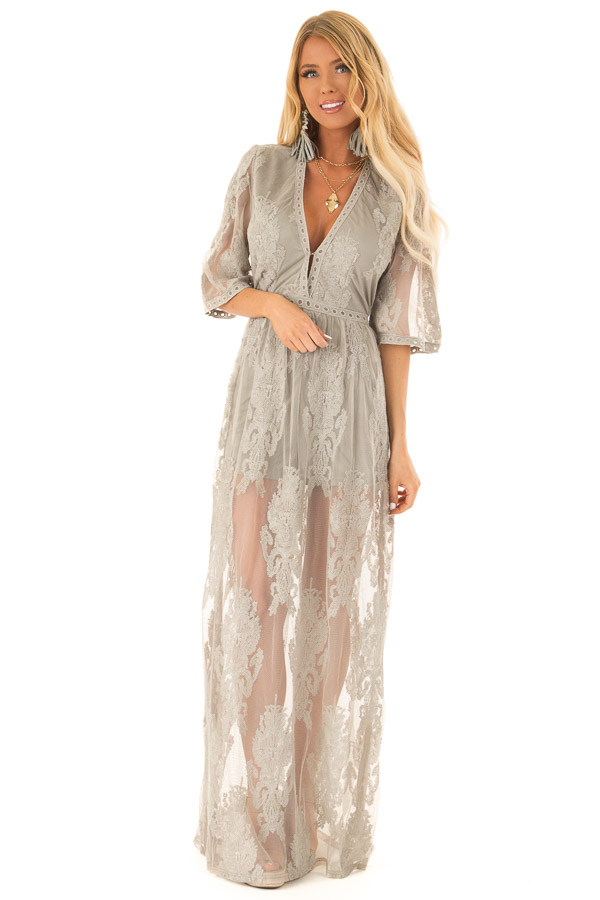b0b010d5b28 ... Sage Embroidered Mesh Maxi Dress with Deep V Neckline front full body  ...