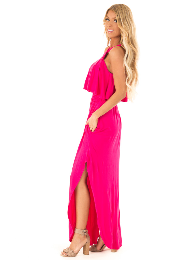 Fuchsia Halter Maxi Dress with Side Slits and Pockets side full body