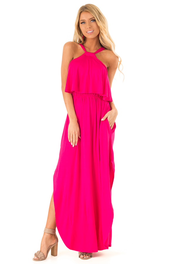 Fuchsia Halter Maxi Dress with Side Slits and Pockets front full body