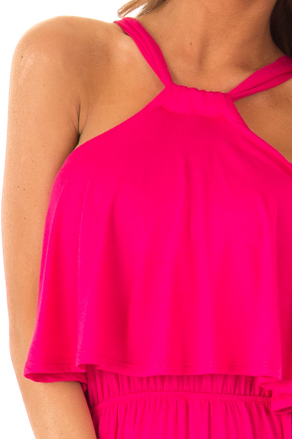 Fuchsia Halter Maxi Dress with Side Slits and Pockets detail