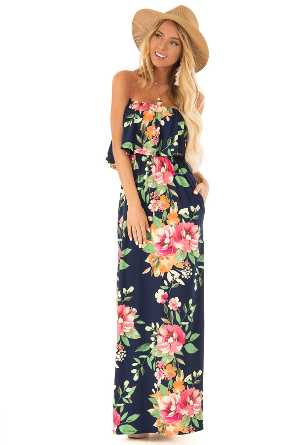 Navy Floral Print Tube Top Maxi Dress with Ruffle Overlay front full body