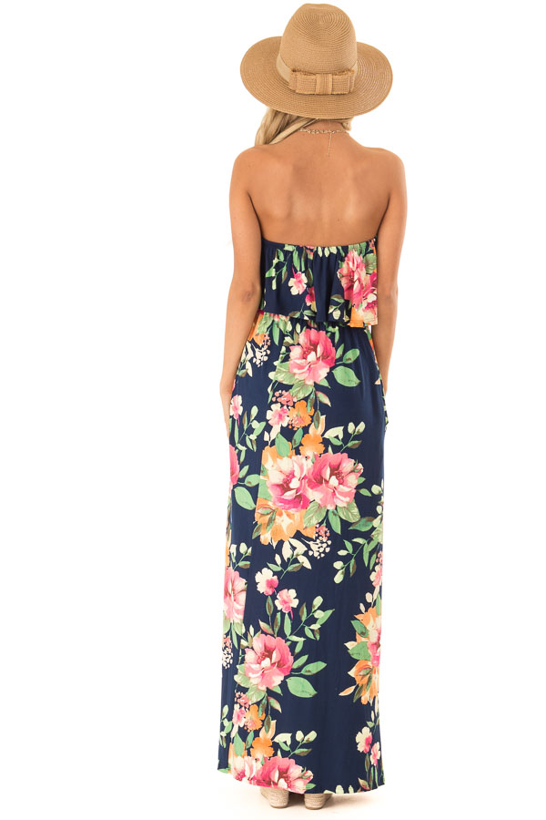 Navy Floral Print Tube Top Maxi Dress with Ruffle Overlay back full body