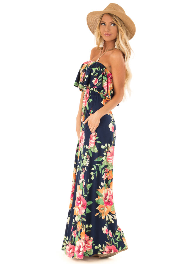 56b43b56c9a4 Navy Floral Print Tube Top Maxi Dress with Ruffle Overlay side full body