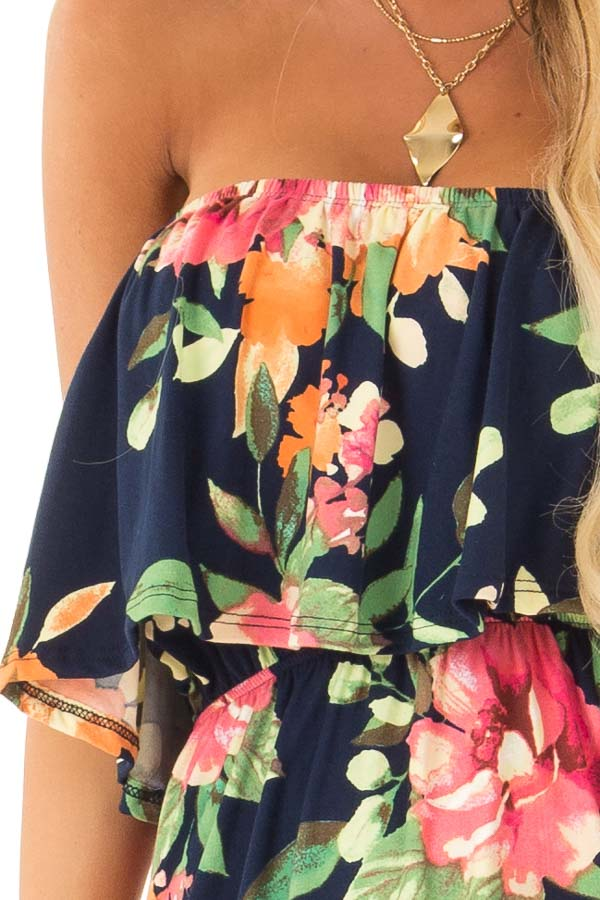 Navy Floral Print Tube Top Maxi Dress with Ruffle Overlay detail