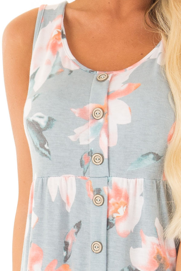 Dusty Blue Floral Print Sleeveless Button Up Mini Dress detail